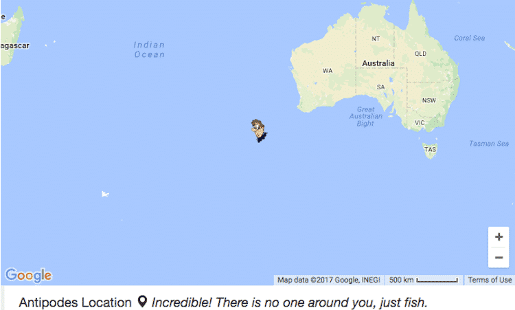 Antipodes Map Shows the Exact Opposite Side of the World