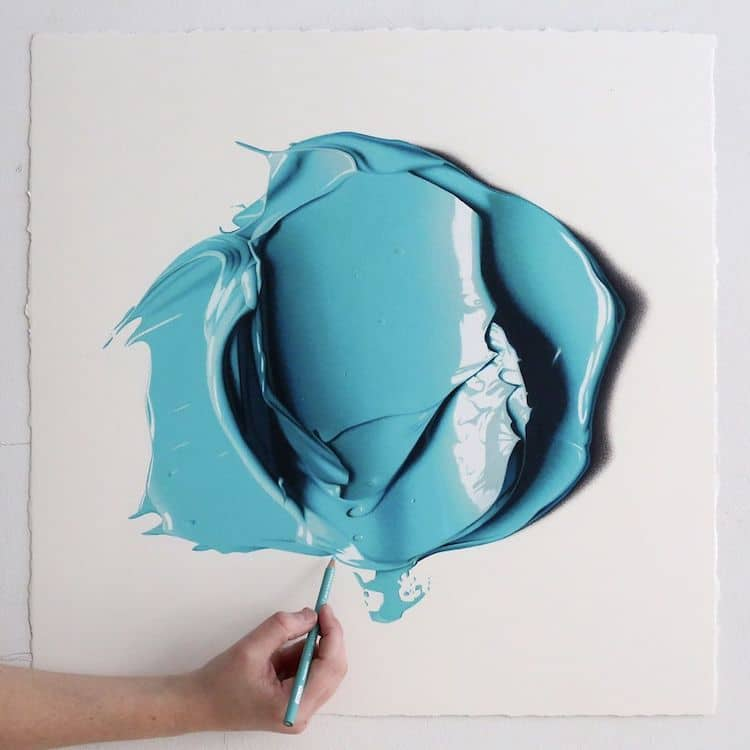 using colored pencils and a lot of patience she perfectly recreates luscious blobs of oil paint hyperrealistic drawings