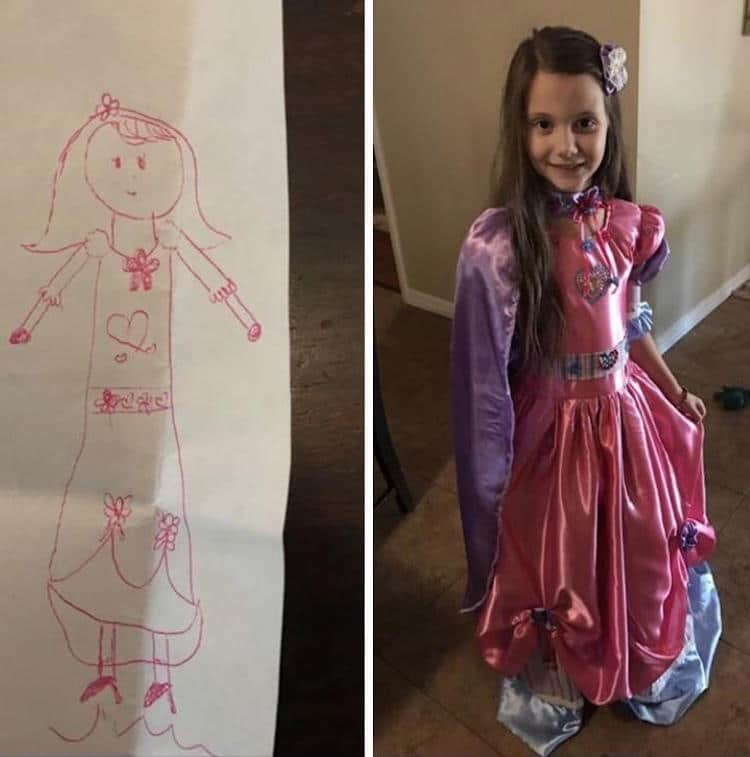Cute Grandma Turns Little Girl's Dream Dream Drawing Into a Real Frock