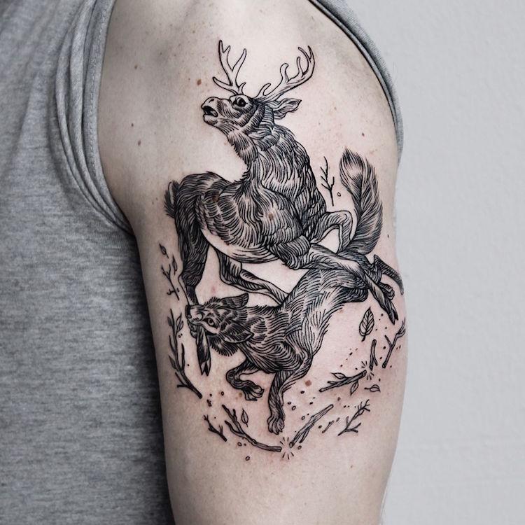 A-B M Fine Line Tattoo Black Ink Tattoo