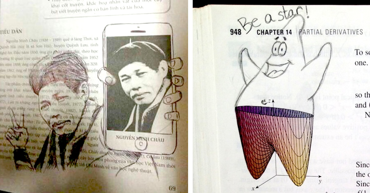 20+ Bored Students Who Created The Best Textbook Doodles