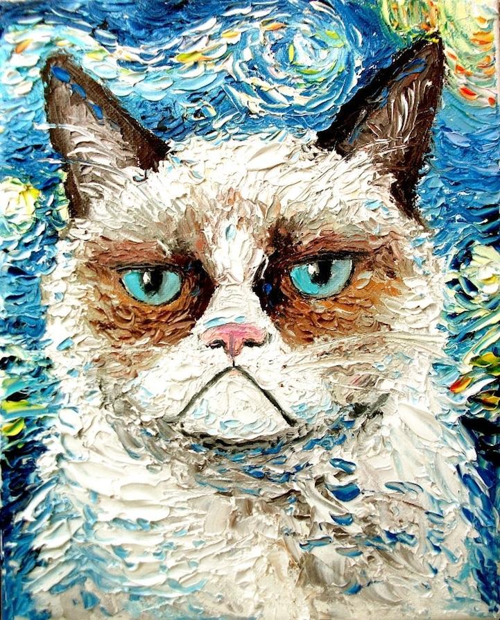 Grumpy Cat Palette Knife Painting