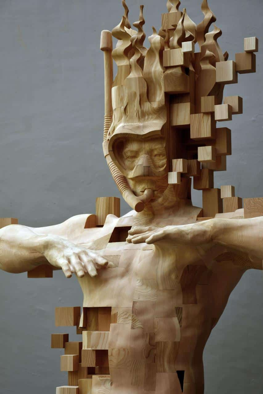 Hsu Tung Han contemporary Wood Sculpture