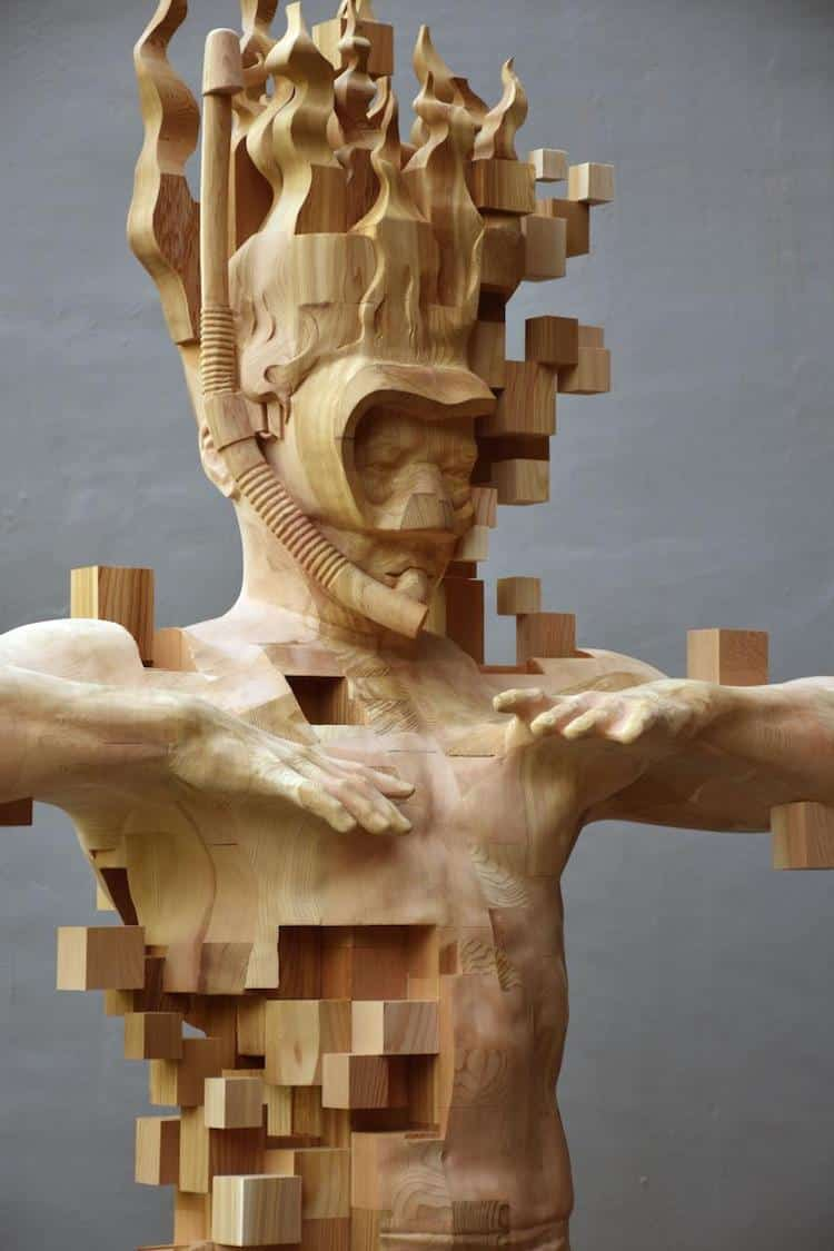 wood sculptor hsu tung han 39 s newest pixelated wood sculpture. Black Bedroom Furniture Sets. Home Design Ideas