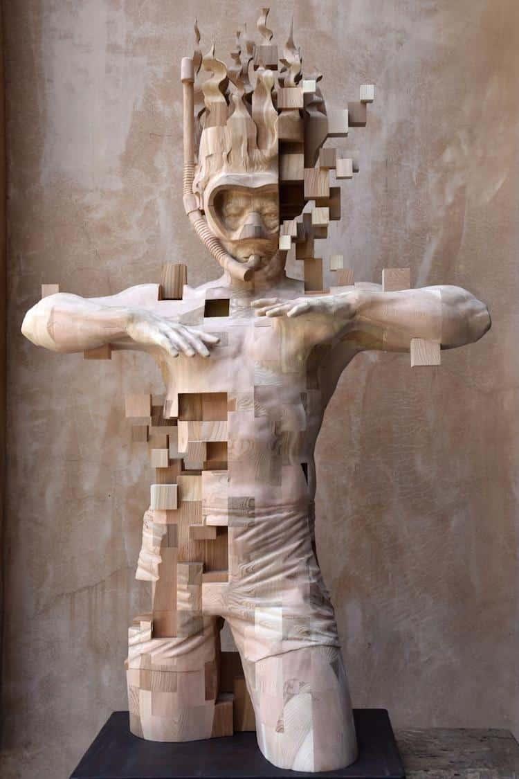 Wood sculptor hsu tung han s newest pixelated sculpture
