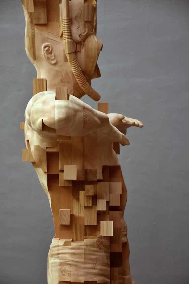 Wood sculptor hsu tung han s newest pixelated sculpture