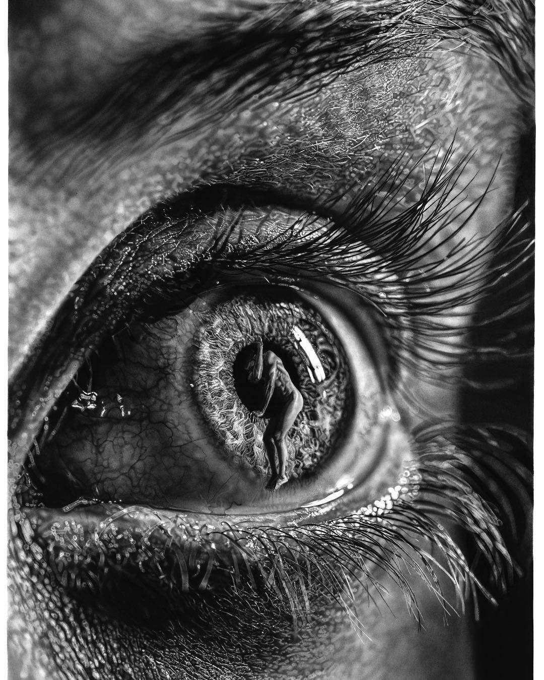Artists giant pencil drawings blur the line between hyperrealism and surrealism