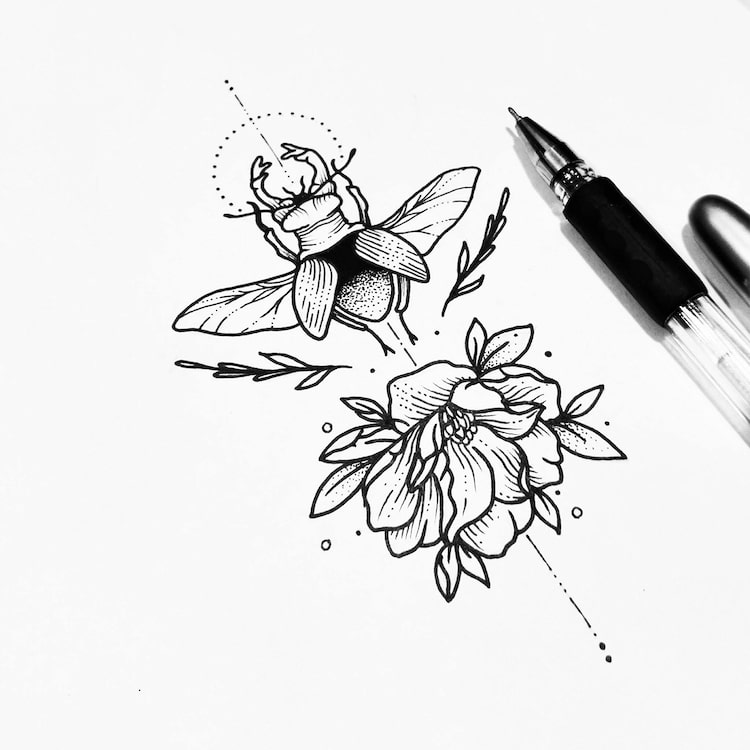 Tattoo Design Line Art : Illustrative tattoo artist turns drawings into black ink