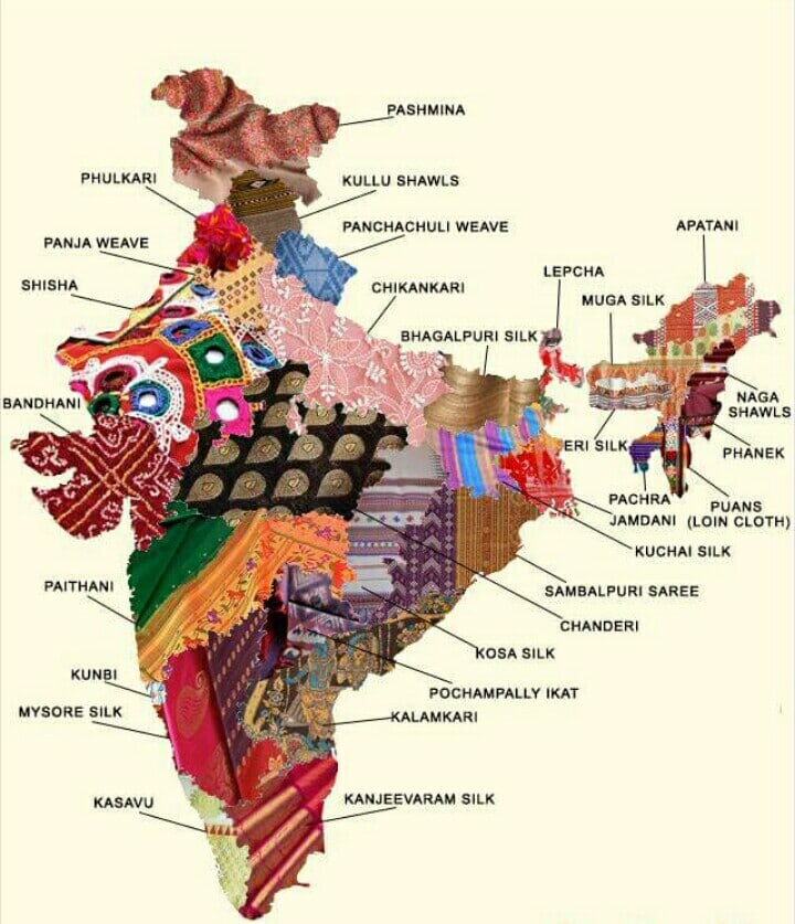 Textile map of pakistan and india embroidery show traditional cultures india textile map gumiabroncs Choice Image