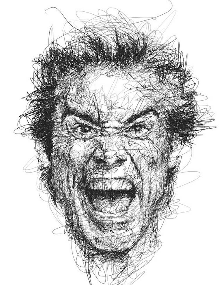 Line Drawing Faces : Scribble style portraits of funny jim carrey faces