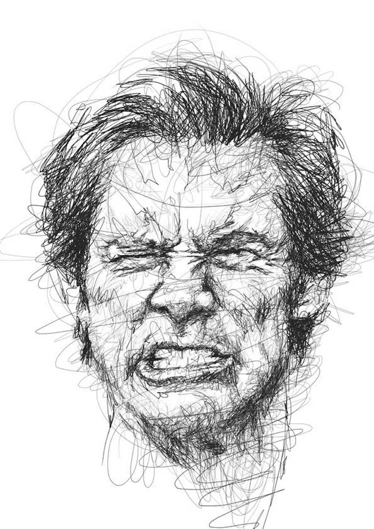 Scribble Drawing Of Face : Scribble style portraits of funny jim carrey faces