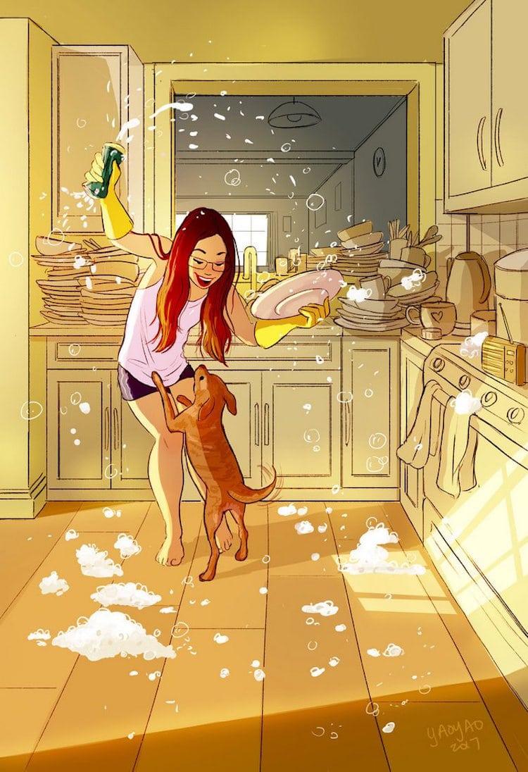 Yaoyao Ma Van Ilustraciones Ventajas de Vivir Solo