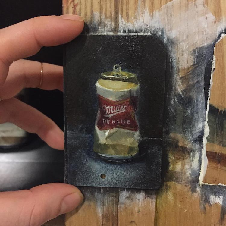 Miniature Paintings on NYC Subway Cards