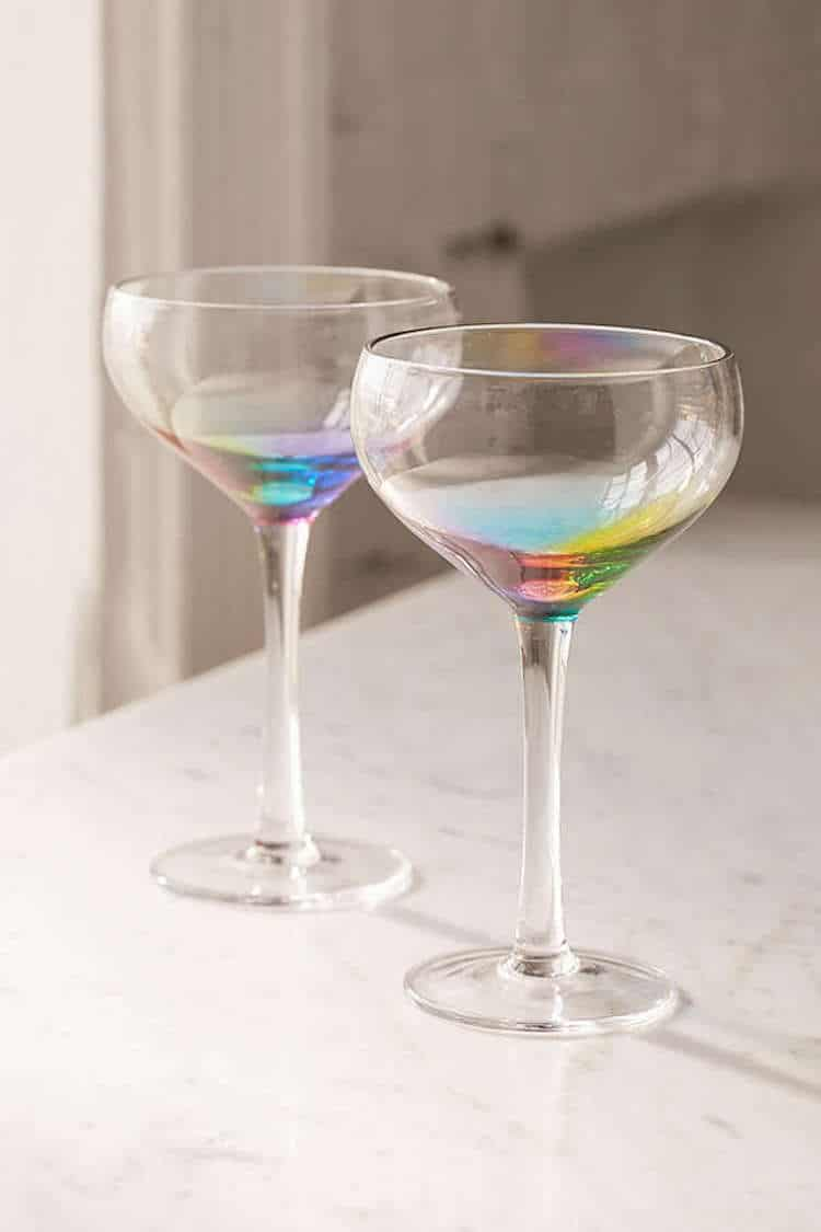 Rainbow Glass Coupe Cocktail Glass Wine Glass Urban Outfitters