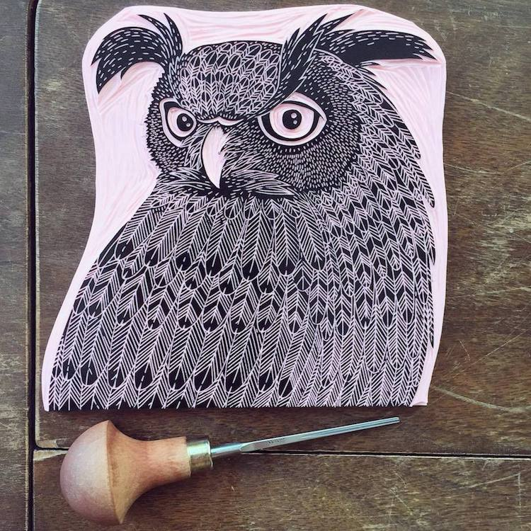 Artist creates intricate custom art rubber stamps inspired