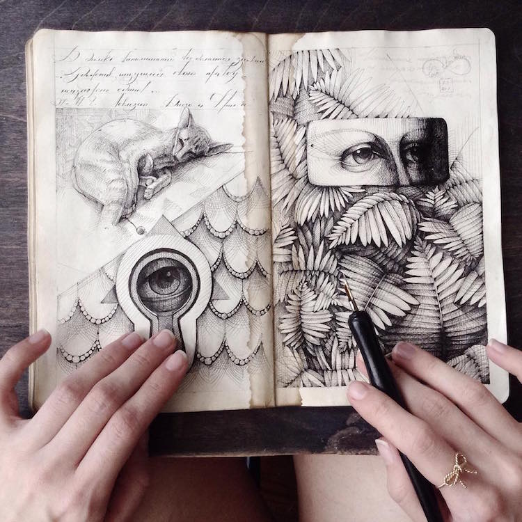 Sketchbook Art Ink Drawing Elena Limkina