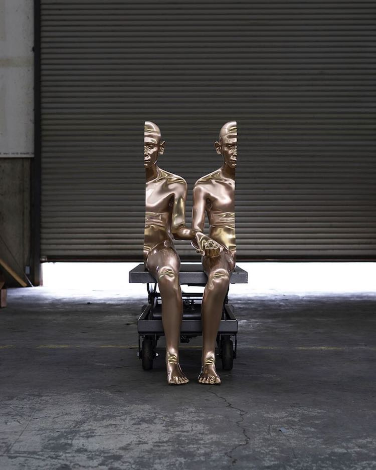 Surreal Split Figure Sculpture Anders Krisár