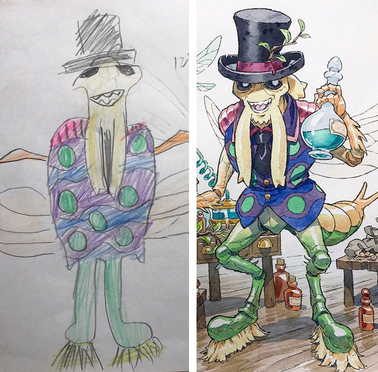Thomas Romain Creates Father Son Art Inspired By Sons Drawings - Dad transforms his sons drawings into amazing anime characters