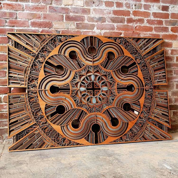 Intricate Laser Cut Wood Relief Sculptures By Gabriel Schama