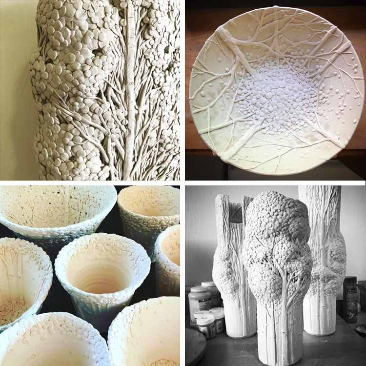 Ceramic Tree Vessels by Heesoo Lee