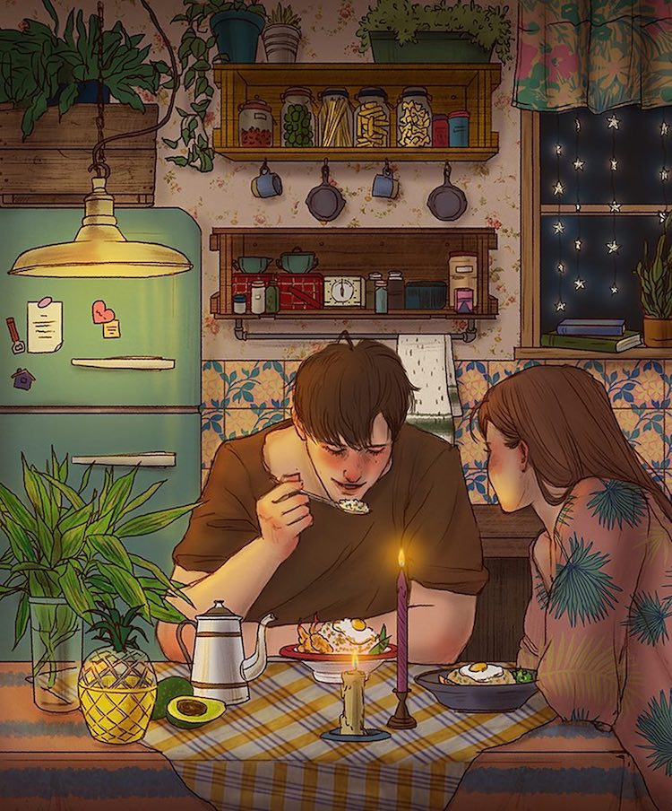 Cute Couple Illustrations by Hyocheon Jeong