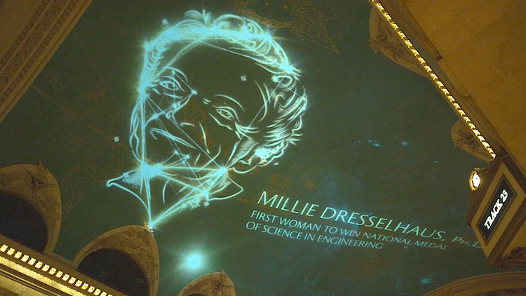 Famous Female Scientists Projected in Grand Central