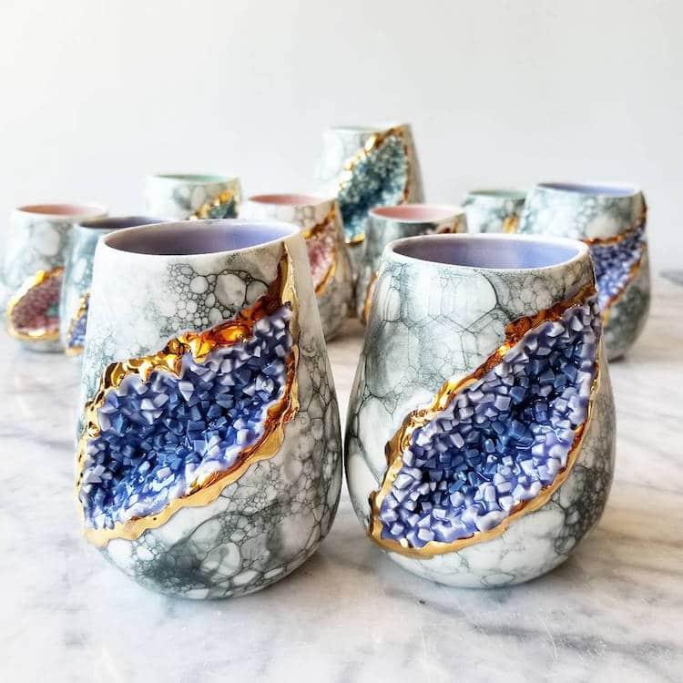 Geode Mug Crystal Mug Silver Lining Ceramics Katie Marks