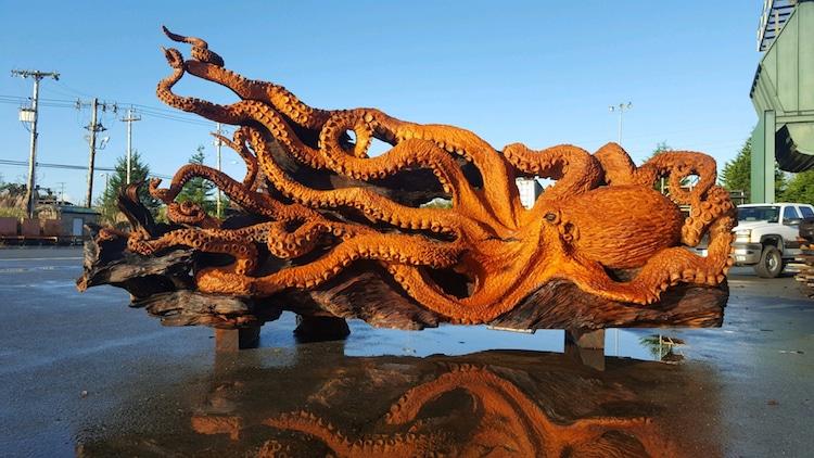 redwood tree octopus sculpture