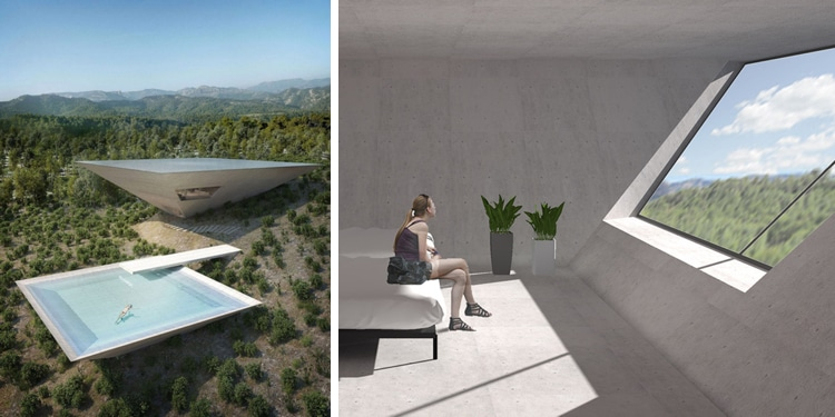 Tna reveals inverted pyramid design for solo house in for Inverted house plans