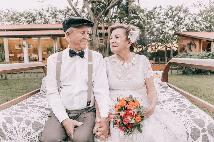 Elderly Couple In Love Renew Their Vows After 60 Years