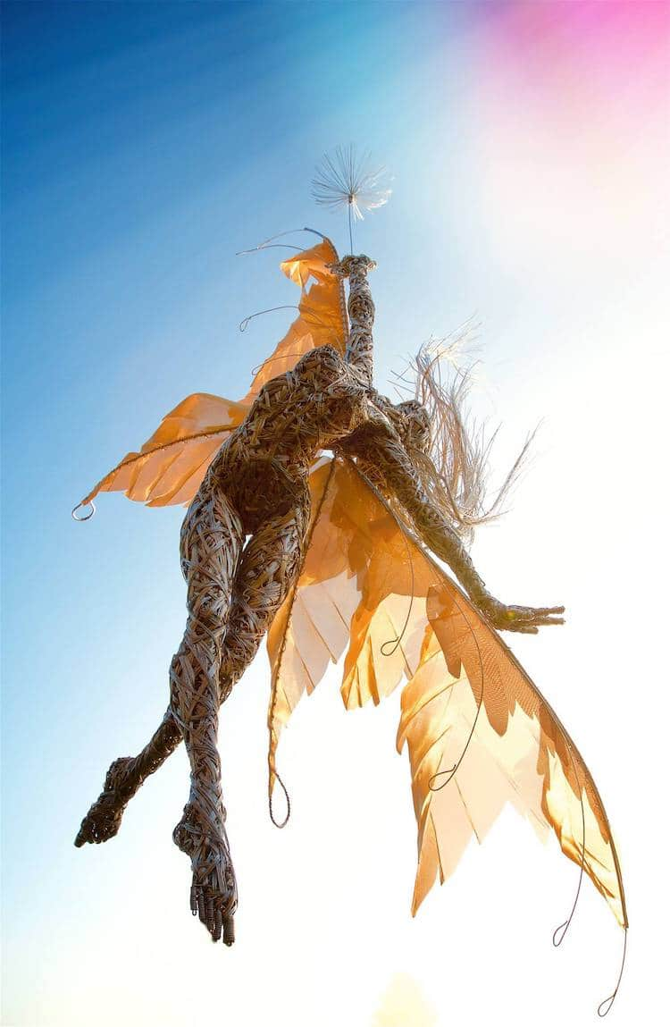 dynamic wire art sculpture of fantastical fairies by robin wight