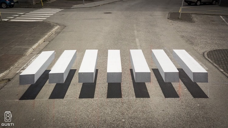 3d crosswalk in iceland creates an optical illusion