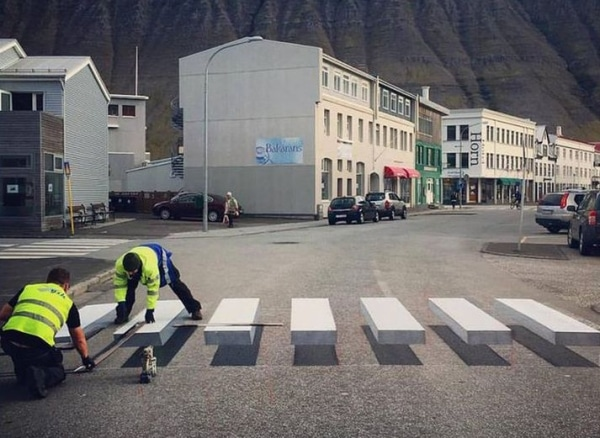 3d zebra crossing painting in progress