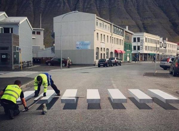 3d zebra crossing painting in progress