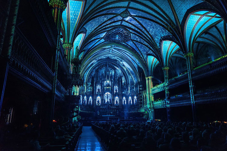AURA Moment Factory multimedia installation in notre dame basilica