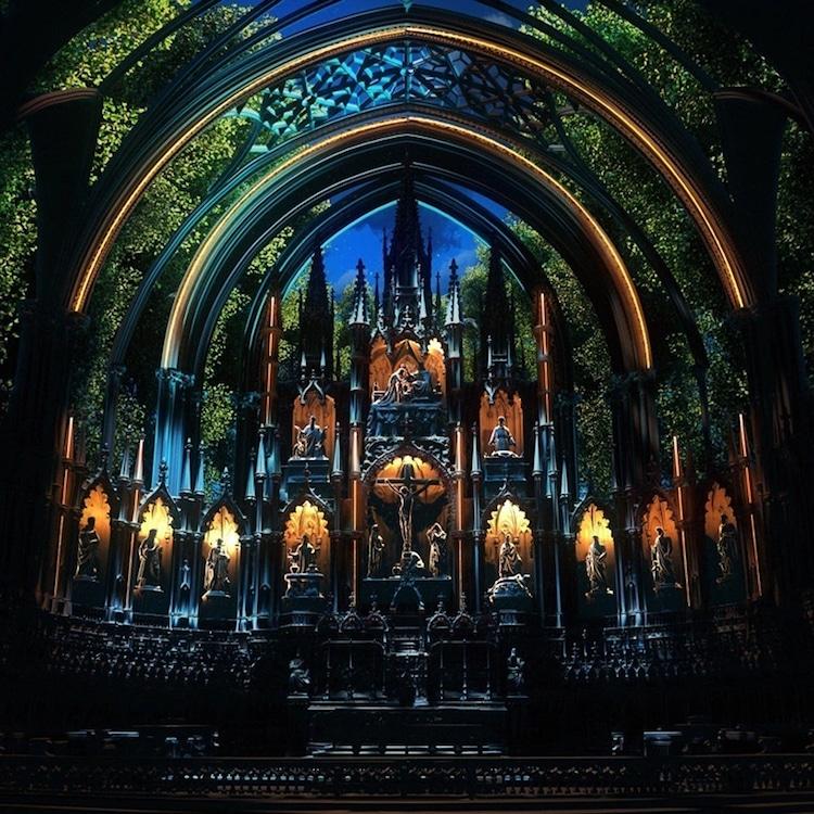 art installation in notre-dame basilica