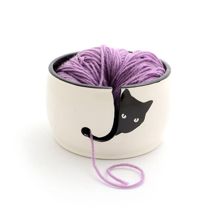 Black Cat Knitting Bowl