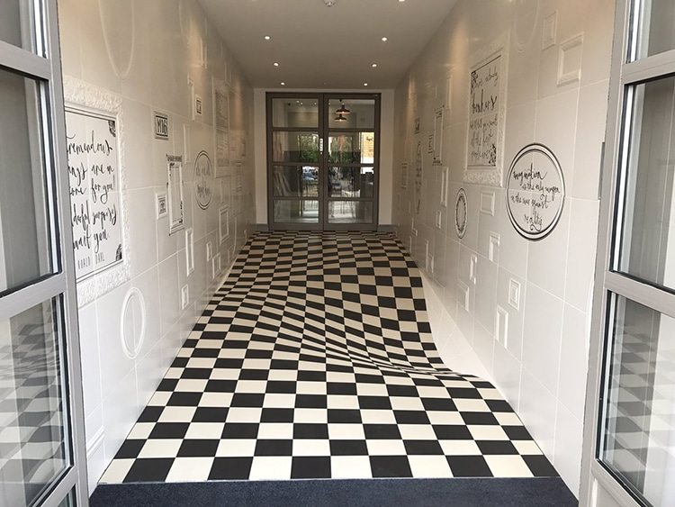 Tile Showroom Designs Mind Boggling Optical Illusion Hallway