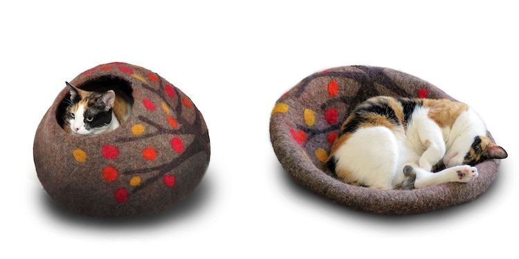 wool cat cave and bed