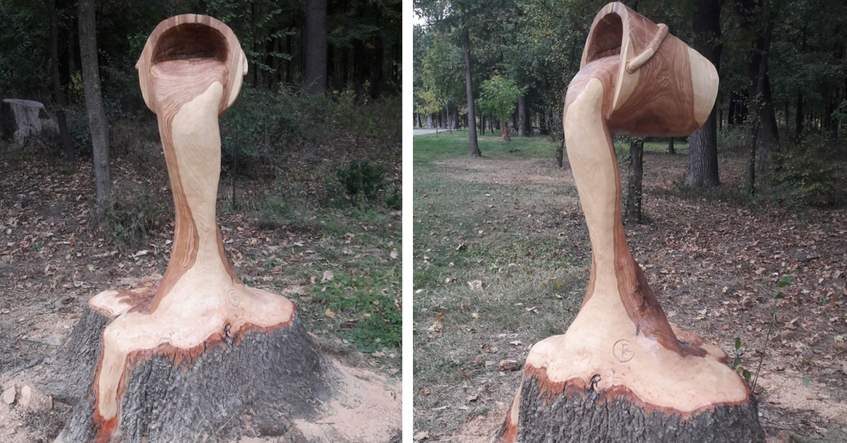 Chainsaw Artist Turns Tree Stump into Illusion of Bucket Pouring Water