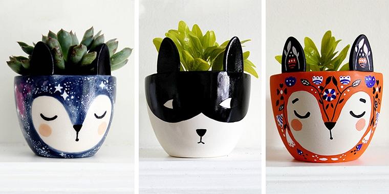 Gift Guide Animal Plant Pots KraftyKDesign