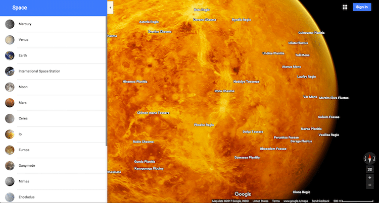 google map of venus
