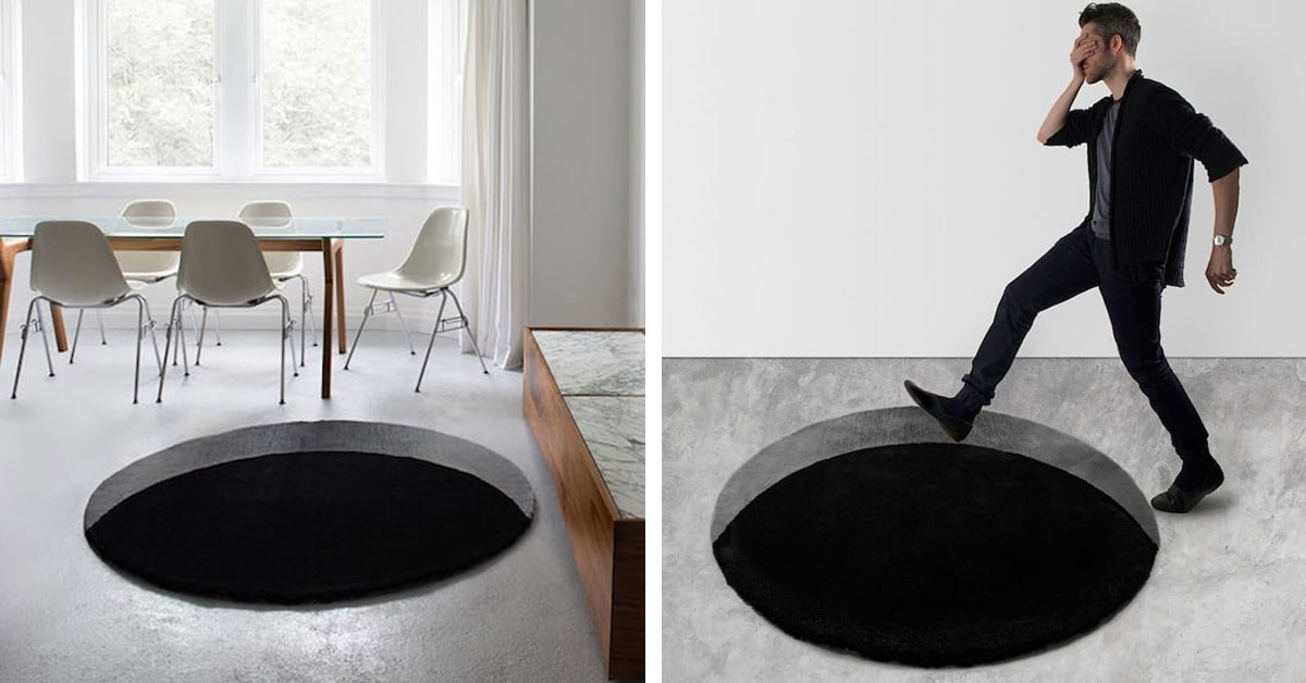 illusion optical rugs hole rug ground there void giant