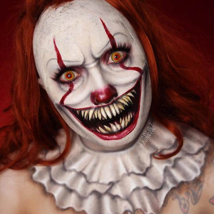 Halloween Clown.15 Terrifying Transformations With Pennywise Clown Makeup