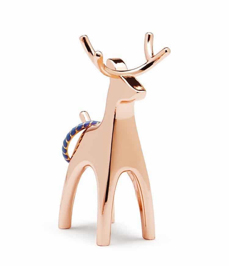 2017 Gift Guide Copper Reindeer Ring Holder