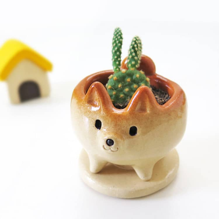 2018 Gift Guide Ceramic Shiba Inu Succulent Holder