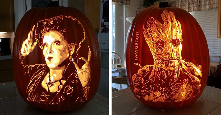 artist creates pumpkin carvings inspired by pop culture icons