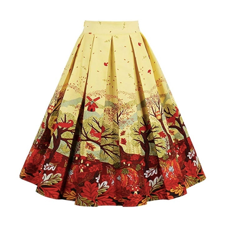 Women's Vintage A-Line Flared Skirt
