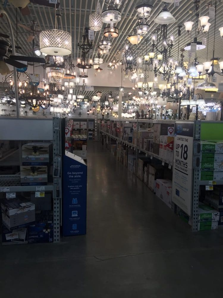 Lowe's Lighting Section