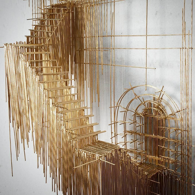 Artist creates architectural 3d sketch like wire sculptures for 3d wire art